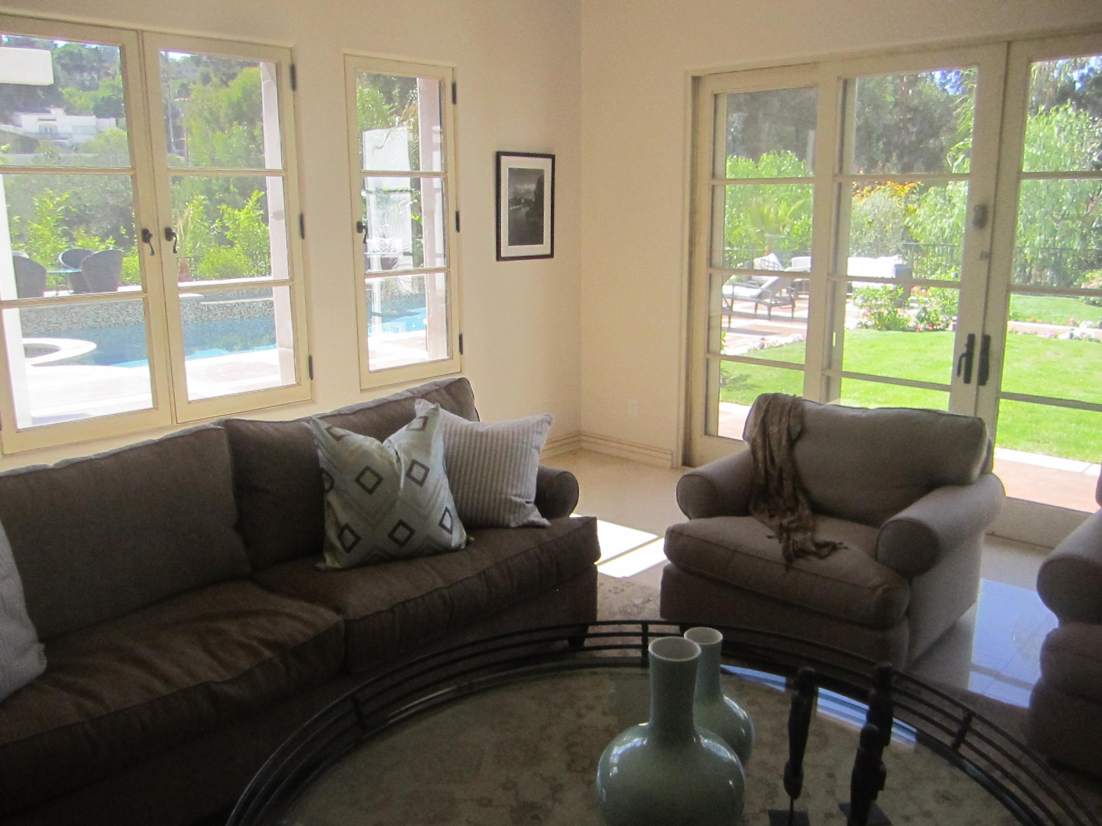 Double French Doors in Living Room Home in Malibu