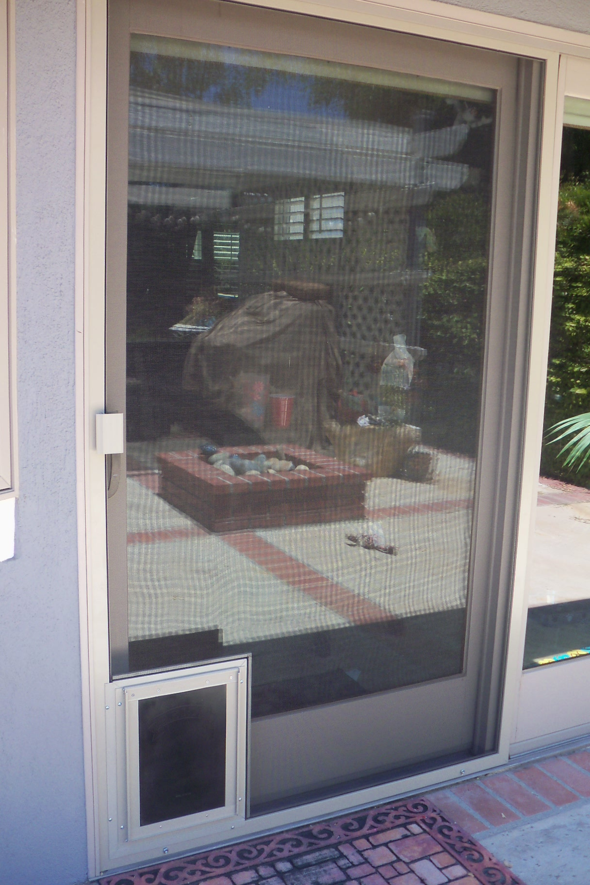 Pet Door Installed On Sliding Screen Door Retractable