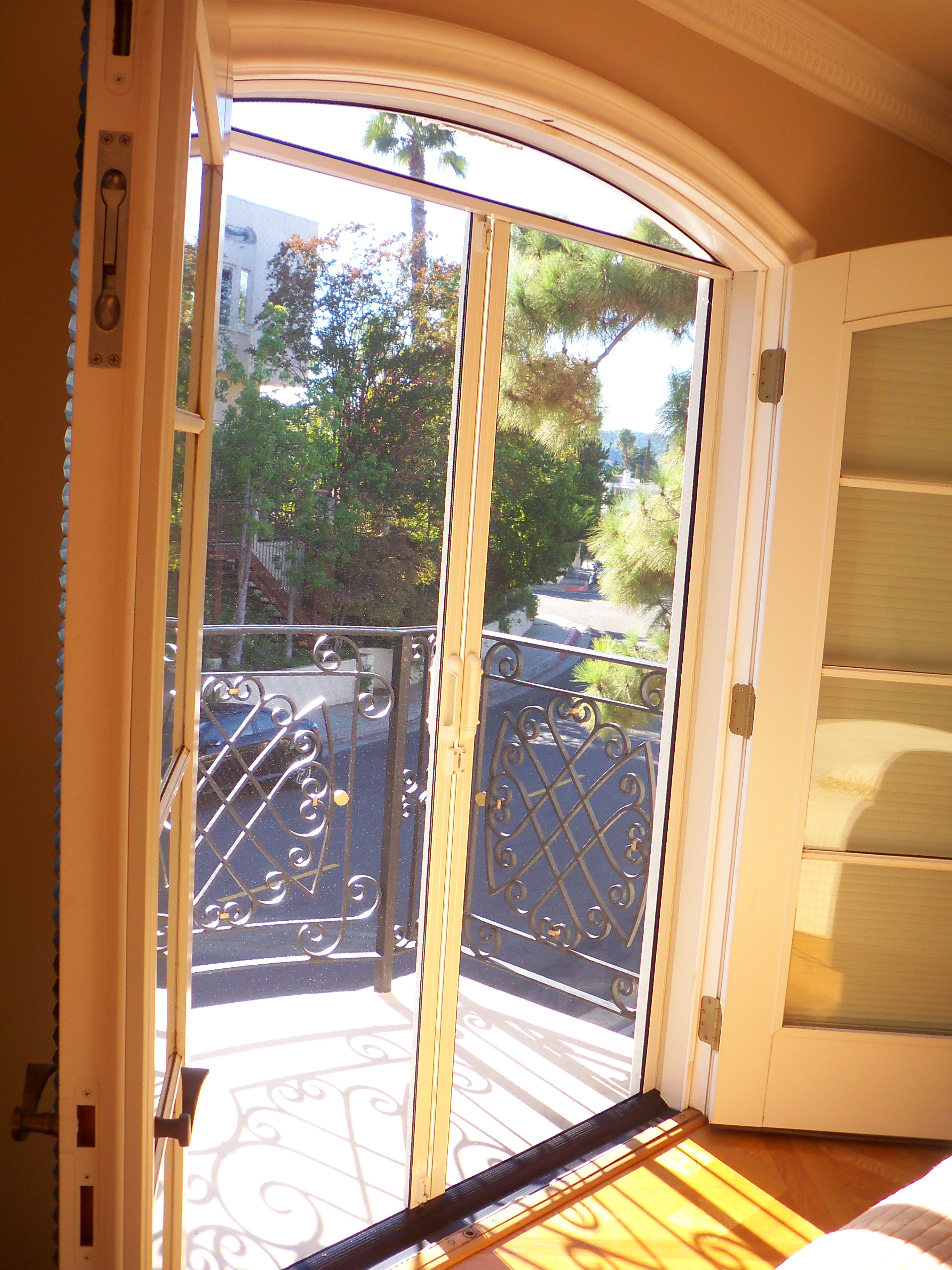 Arched Screens For Double Set French Doors in Sherman Oaks