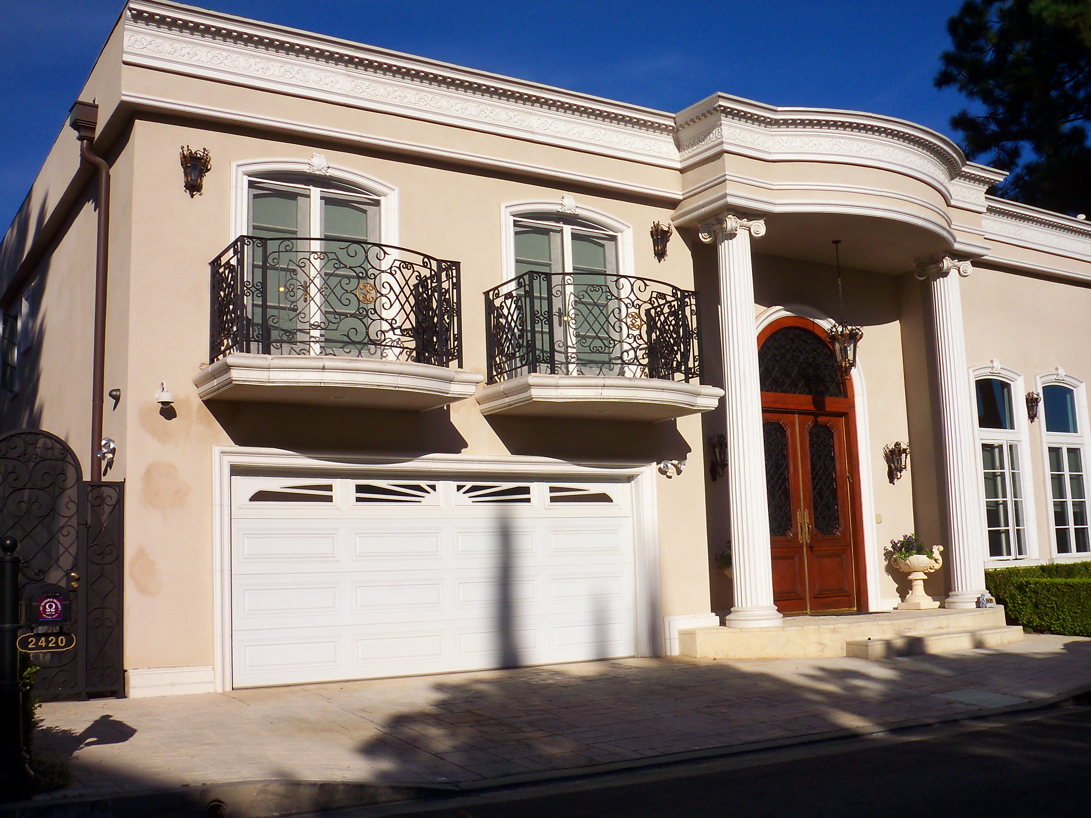 Two Double Set French Doors of Arched Screens in Encino