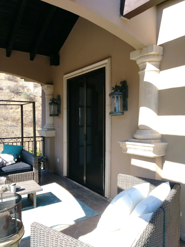 Bronze Invisible Screen Doors installed in Encino